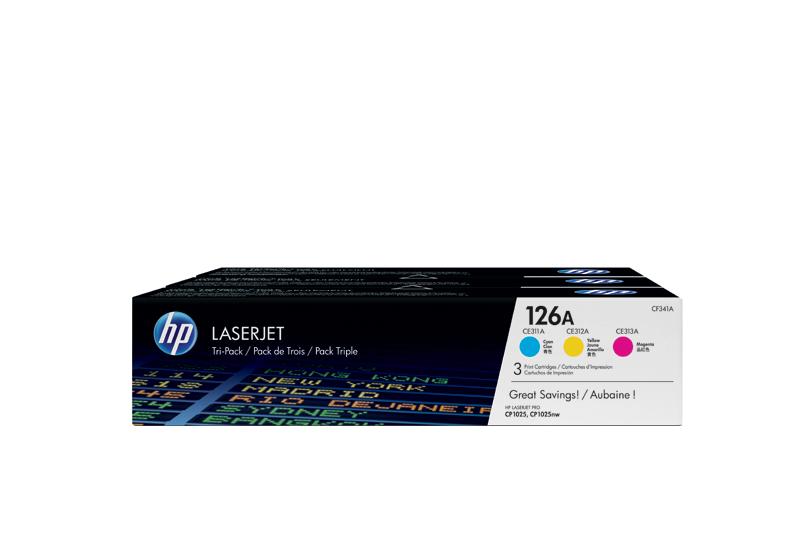 惠普HP 126A 青色/品红色/黄色三盒装原装激光打印机硒鼓