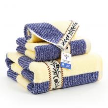 金号毛巾家纺 纯棉条纹吸水三件套 毛巾x1 浴巾x1 方巾x1