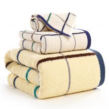 金号毛巾家纺 纯棉方格吸水三件套 毛巾x1 浴巾x1 方巾x1