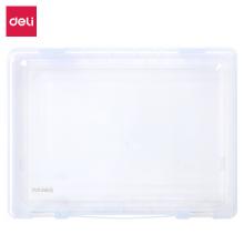 得力(deli)A4透明便携卡扣文件盒 PP材质环保耐用资料收纳盒35mm厚度办公用品颜色随机5702