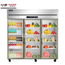 澳柯玛(AUCMA)1345升立式三门玻璃门全冷藏冰箱铜管不锈钢商用冰柜鲜花蔬菜保鲜陈列展示柜VC-1309YT