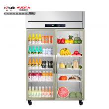 澳柯玛(AUCMA)商用立式双门展示柜 水果蔬菜保鲜冰柜全冷藏玻璃门厨房冰箱VC-879YT