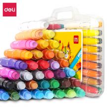 得力(deli)36色盒装学生水溶性旋转油画棒儿童可水洗蜡笔绘画笔炫彩棒72078