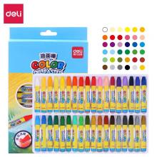 得力(deli)36色学生丝滑油画棒 易上色儿童蜡笔绘画笔6964