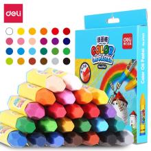得力(deli)24色学生丝滑油画棒 易上色儿童蜡笔绘画笔6963