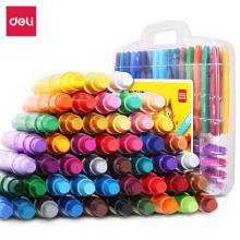 得力(deli)48色学生粗杆水溶性炫彩棒旋转蜡笔丝滑油画棒 72057