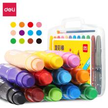 得力(deli)12色盒装学生水溶性旋转油画棒儿童可水洗蜡笔绘画笔炫彩棒72076