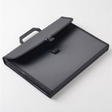 齐心KF412TJ/F4302文件夹多层手提式A4风琴包票据文件包12格手风琴文件袋文件包KF412TJ黑色12格