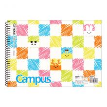 国誉(KOKUYO)学生办公Campus KidsPP磨砂面螺旋装订图画本子绘画本绘图本A4/30页2本/包WCN-PS2034