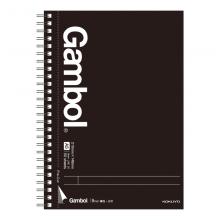 国誉(KOKUYO)学生办公Gambol高级系列双螺旋装订本子笔记本易撕9mm横线A5/50页4本/包黑色WCN-GTN3555