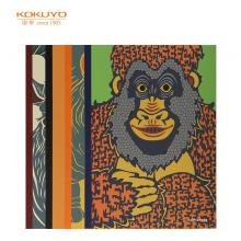 国誉(KOKUYO)设计本无线装订本软抄本记事本子笔记本A5/40页动物肖像4本装WCN-DNA54-J70