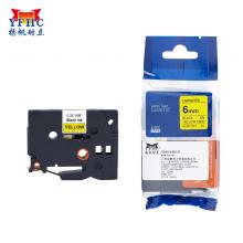 扬帆耐立 标签带 标签纸色带 适用兄弟标签机色带 6mm黄底黑字 TZ-611