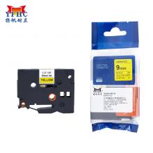 扬帆耐立 标签带 标签纸色带 适用兄弟标签机色带 9mm黄底黑字 TZ-621