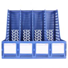 得力(deli)四联镂空桌面文件框 四栏带标签稳固文件栏/文件筐/资料框 办公用品 蓝色27888