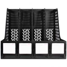 得力(deli)四联镂空桌面文件框 四栏带标签稳固文件栏/文件筐/资料框 办公用品 黑色27888