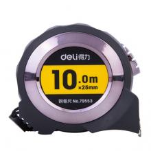 得力(deli)10m全包胶自锁钢卷尺 精准测量便携尺子 黑色