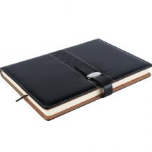 广博(GuangBo)16K144张商务皮面记事本子文具笔记本/雅致插扣款黑色