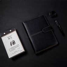 广博(GuangBo)25K活页笔记本子皮面本/商务记事本/文具日记本 100张 黑色