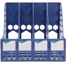 广博(GuangBo) 稳固型四联文件框 文件筐 文件架 收纳栏办公用品 蓝色