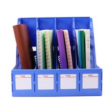 益而高(EaGLE)四联文件框 带标签资料框/文件框/文件栏 蓝色