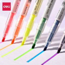 得力荧光笔标记笔 双头6色套装 S627/S623