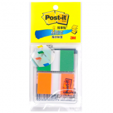 3M Post-it报事贴 680-2PK 抽取式指示标签 分页索引标签 25*44mm 绿色+橙色 1包