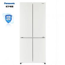 松下(Panasonic)498升十字对开门冰箱四开门 全开抽屉银离子抗菌 白色玻璃面板 风冷无霜NR-E49CG1-XW