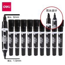 得力(deli)大头/大双头记号笔 粗 防水快干 马克笔 办公用品 黑色 一支装 S555