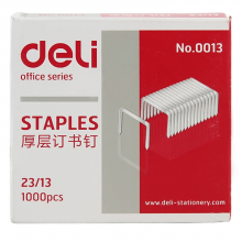 得力(deli)23/13厚层订书钉/订书1针 1000枚/盒 单盒 办公用品0013