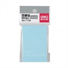得力 deli)7736强黏性便利贴/标签纸/便签纸 可反复粘撕 (76mm*51mm) 7736  颜色随机