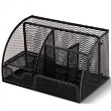得力(deli)创意金属网纹办公笔筒 多功能七格桌面收纳摆件办公用品黑色9200