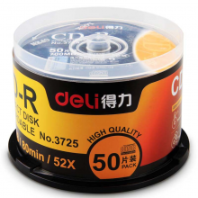 得力(deli)空白CD-R刻录DVD光盘车载MP3刻录碟加厚磨砂双面CD光盘袋子VCD光碟透明包装空白光盘50片/桶3725