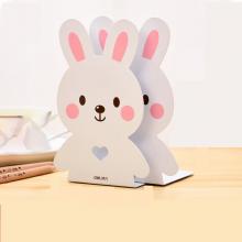 得力(deli)卡通金属书立学生书立架书靠铁书架书夹书挡课桌挡板创意可爱粉色小兔(一对)95422