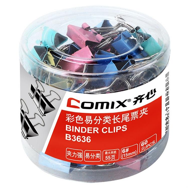 齐心(Comix)彩色长尾夹票夹 6#15mm金属燕尾夹票据夹子60只/筒 办公用品B3636