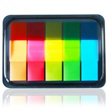 得力(deli)100张5色荧光膜指示标签贴44*12mm抽取式便利贴便签条记事贴9060