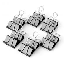 得力 deli 9546 黑色长尾票夹15mm筒装(黑)(12只/盒)2盒装