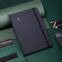 得力(deli)25K96张绑带笔记本子 2021年工作效率手册本日程计划记事本 黑色22277