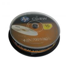 惠普(HP) CD-RW可擦写 光盘/刻录盘 空白光盘 12速700MB 桶装10片