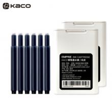 KACO大容量双头墨囊 染料型黑色墨囊 欧规通用不堵笔彩色钢笔墨胆6支/盒 玄武(黑色)