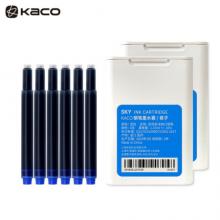 KACO大容量双头墨囊 染料型黑色墨囊 欧规通用不堵笔彩色钢笔墨胆6支/盒 君子(蓝色)