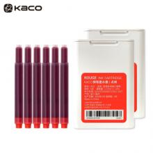 KACO大容量双头墨囊 染料型黑色墨囊 欧规通用不堵笔彩色钢笔墨胆6支/盒 点绛(红色)