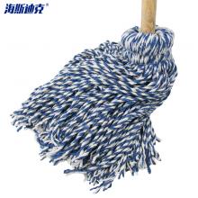 海斯迪克 HK-8027 传统拖把 蓝白色木头杆棉线拖 把吸水拖把 线条拖把布条拖把