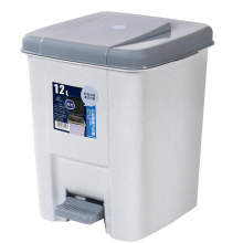 汉世刘家 垃圾桶带盖家用厨房卫生间大号塑料桶脚踏垃圾筒 方形银色12L