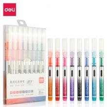 得力(deli) 彩色直液笔套装 0.5mm全针管学生签字笔中性笔 水笔走珠笔 8支/盒S855