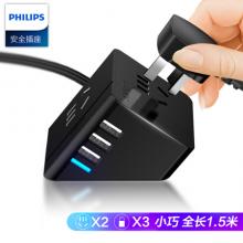 飞利浦(PHILIPS)小飞魔方旅行USB智能插座3USB+2位2.4快充1.5米