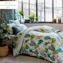 馨亭MCA-006四件套床单被套枕套克莉布里绿叶植物图案格纹纯棉床